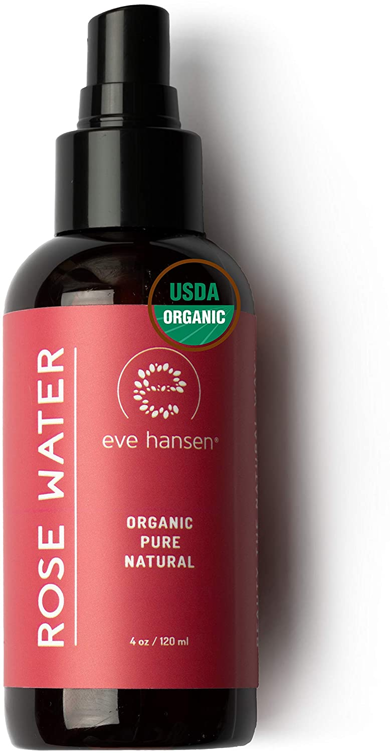 Certified Organic Rose Water Face Toner - Skin Reviving, Soothing, and Hydrating Natural Skin Toner - Reduce Pores, Eye Puffiness, Inflammation, and Redness - by Eve Hansen