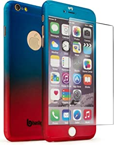 """iPhone 6 Plus / 6s Plus 5.5"""" Case with Tempered Glass Screen Protector, Bastex Full Body Slim Fit Fade Blue to Red Ultra Thin Hard Snap-On Case for Apple iPhone 6 Plus 5.5"""", iPhone 6s Plus 5.5"""""""
