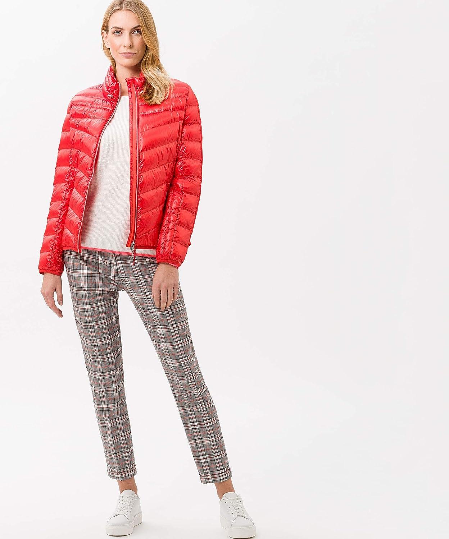 BRAX Maron Glencheck Pantalon Femme Rouge (Orange Red 43)