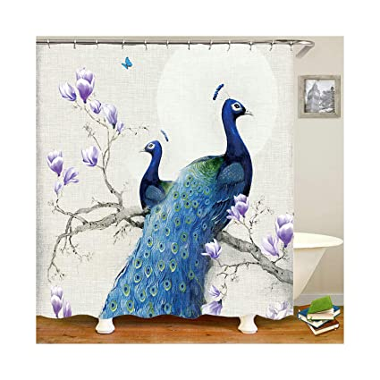 Image Unavailable Not Available For Color KnBoB Art Shower Curtain Peacock Hooks Blue 150x180CM