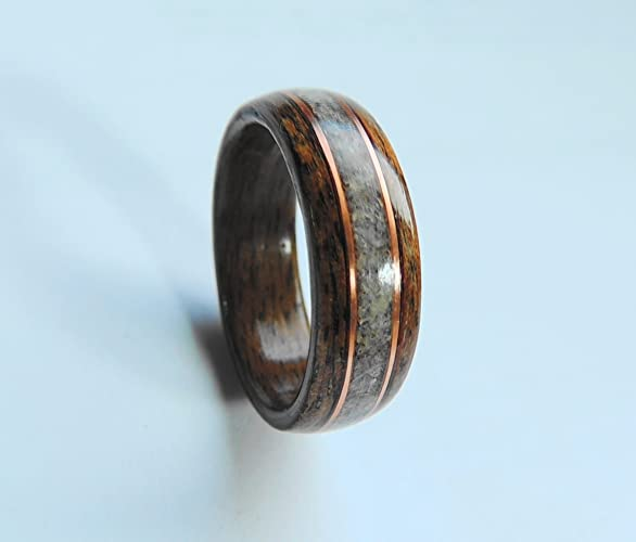 bentwood ring walnut and deer antler with copperwooden wedding band wood ring - Wooden Wedding Rings