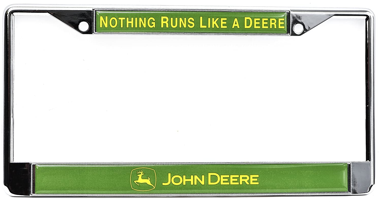 Amazon chroma 6418 john deere auto tag frame domed metal amazon chroma 6418 john deere auto tag frame domed metalchrome automotive jeuxipadfo Images