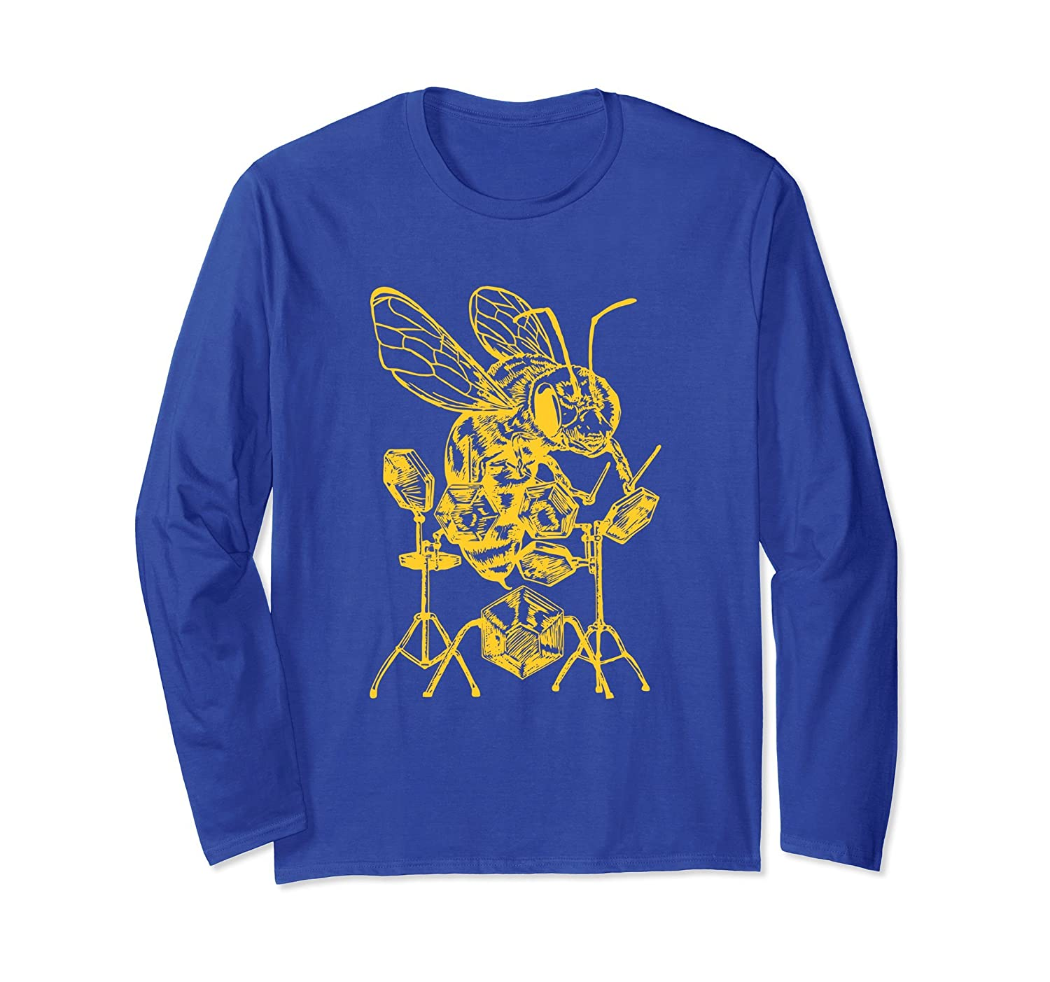 SEEMBO Bee Playing Drums Long Sleeve T-Shirt Drummer Tee-AZP