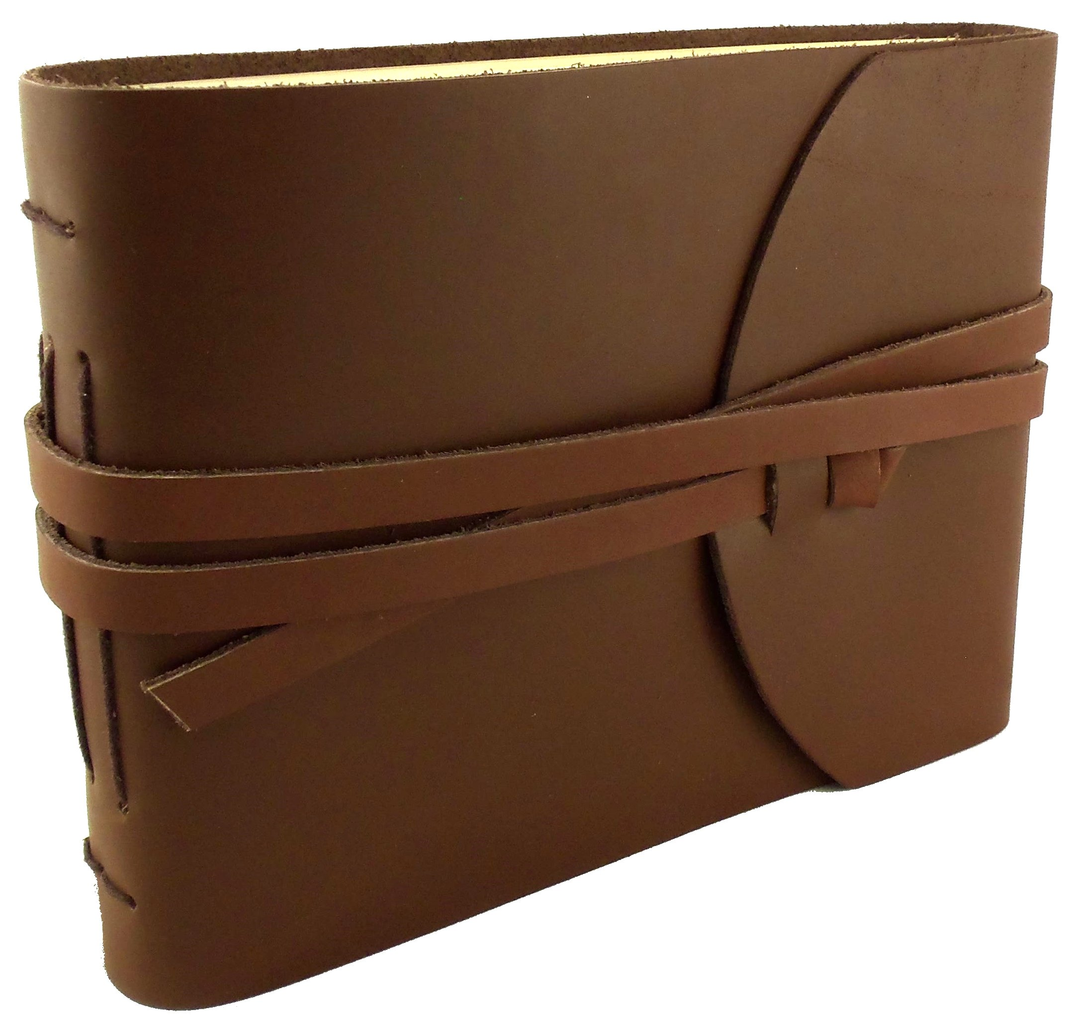 Rustic Genuine Leather Photo Album with Gift Box - Scrapbook Style Pages - Holds 100 4x6 or 5x7 Photos - Photo Book 6x8''