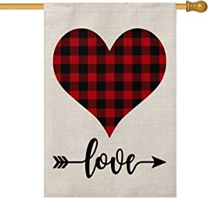 AVOIN Buffalo Plaid Love Heart Garden Flag Vertical Double Sized, Holiday Valentine's Day Anniversary Wedding Birthday Arrow Yard Outdoor Decoration 28 x 40 Inch