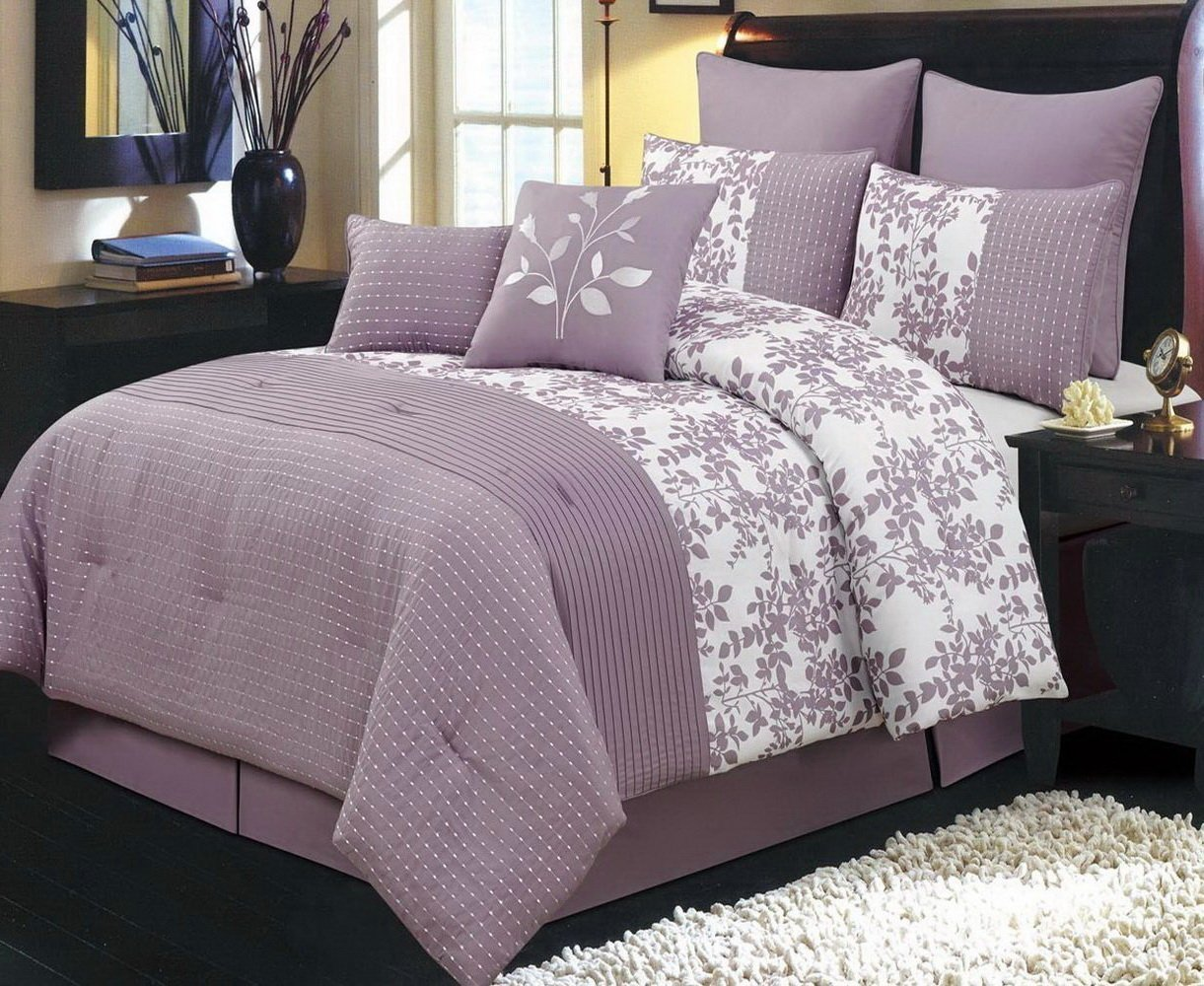Comforter Set 8 Piece Queen Size (90x92) Luxury Complete Bed Set - with Shams Bed Skirt and Decorative Pillows - Modern Floral Leaf Pattern Oversized Bedding Plum Purple