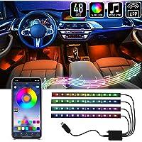 Mega Racer RGB Interior Car Lights - LED Strip Lights for Car, 48 LEDs Over 16 Million Colors, Music Sync App Controlled…