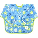 Bumkins Disney Baby Waterproof Sleeved Bib, Monsters Blue (6-24 Months)
