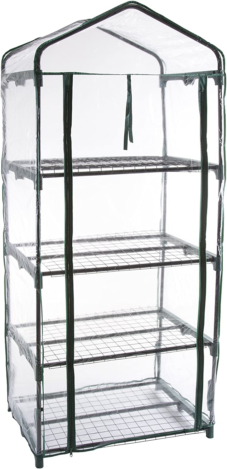 Pure Garden 4-Tier Greenhouse Outdoor Gardening Hot House with Zippered Cover and Metal Shelves for Growing Vegetables, Flowers and Seedlings