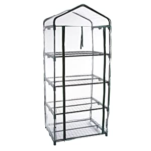 Pure Garden 4-Tier Greenhouse – Outdoor Gardening Hot House with Zippered Cover and Metal Shelves for Growing Vegetables, Flowers and Seedlings