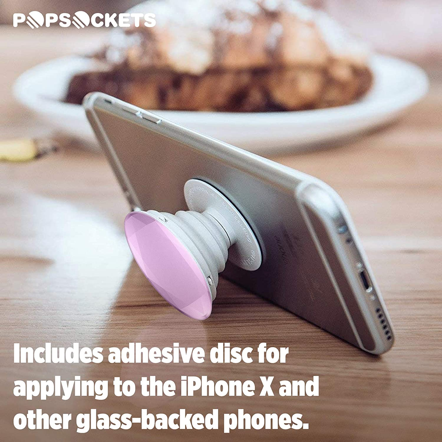 Black Metallic Diamond PopSockets Collapsible Grip /& Stand for Phones and Tablets