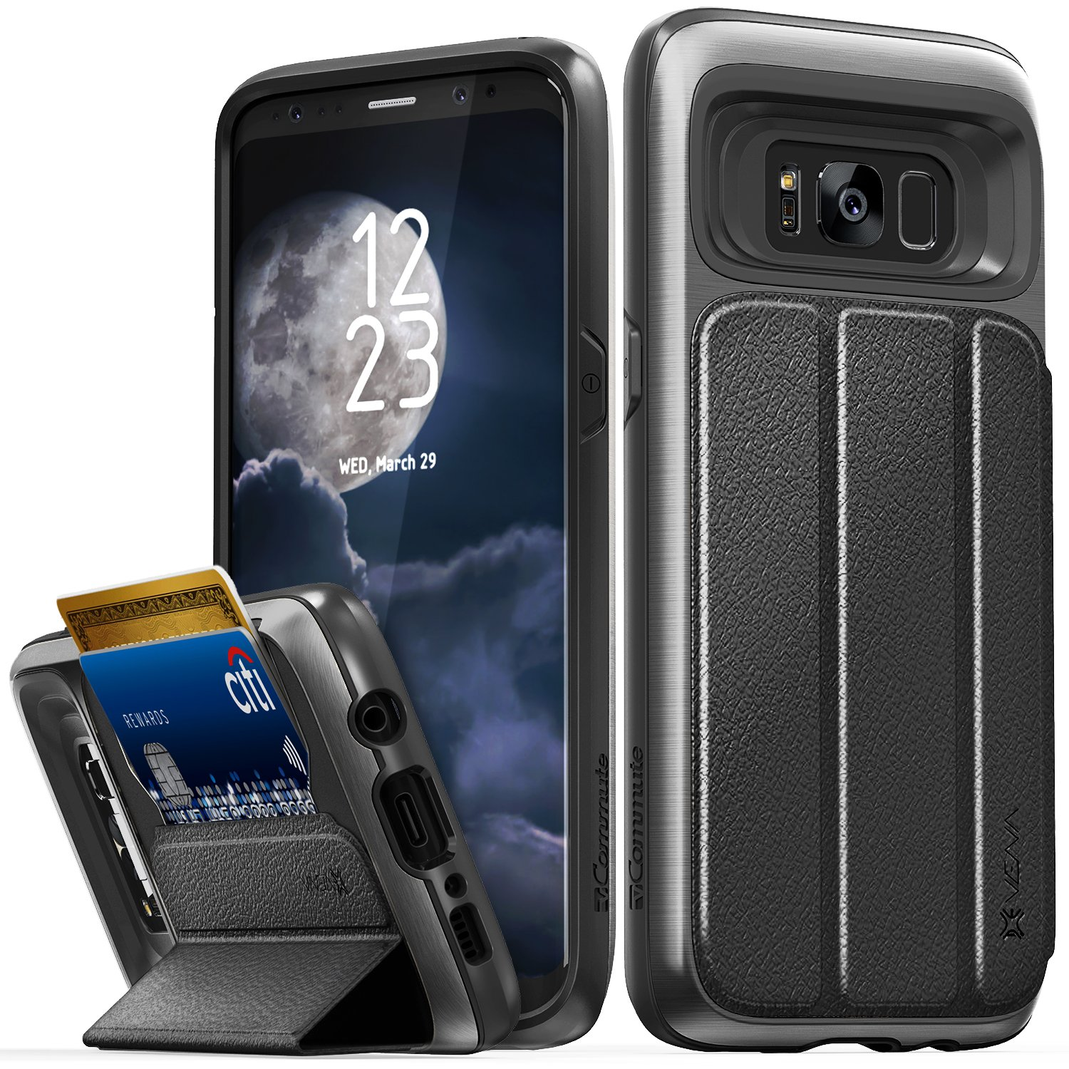 Galaxy S8 Case Vena VCommute Flip Leather Back Card Slot HolderMilitary Grade KickStand Cover For Samsung Space Gray Black Amazonca