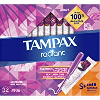 Tampax Radiant Plastic Unscented Tampons, Super Plus Absorbency, 32 Count
