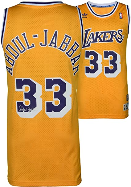 7f2d4acc60c inexpensive kareem abdul jabbar los angeles lakers autographed gold adidas  swingman jersey fanatics authentic certified e7b47