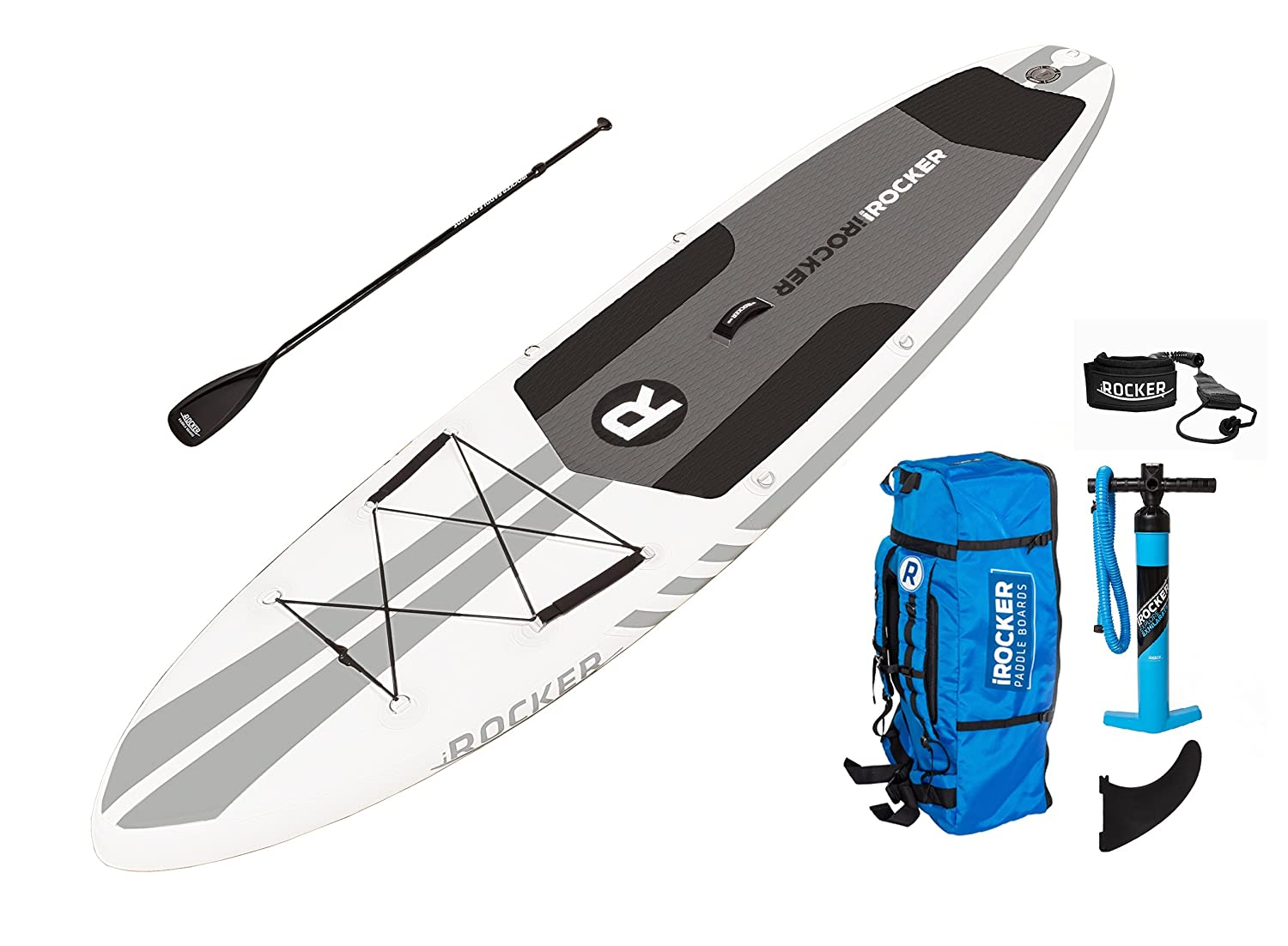 Paquete SUP de tabla de surf de remo hinchable iROCKER ALL-AROUND, 11 largo, 32