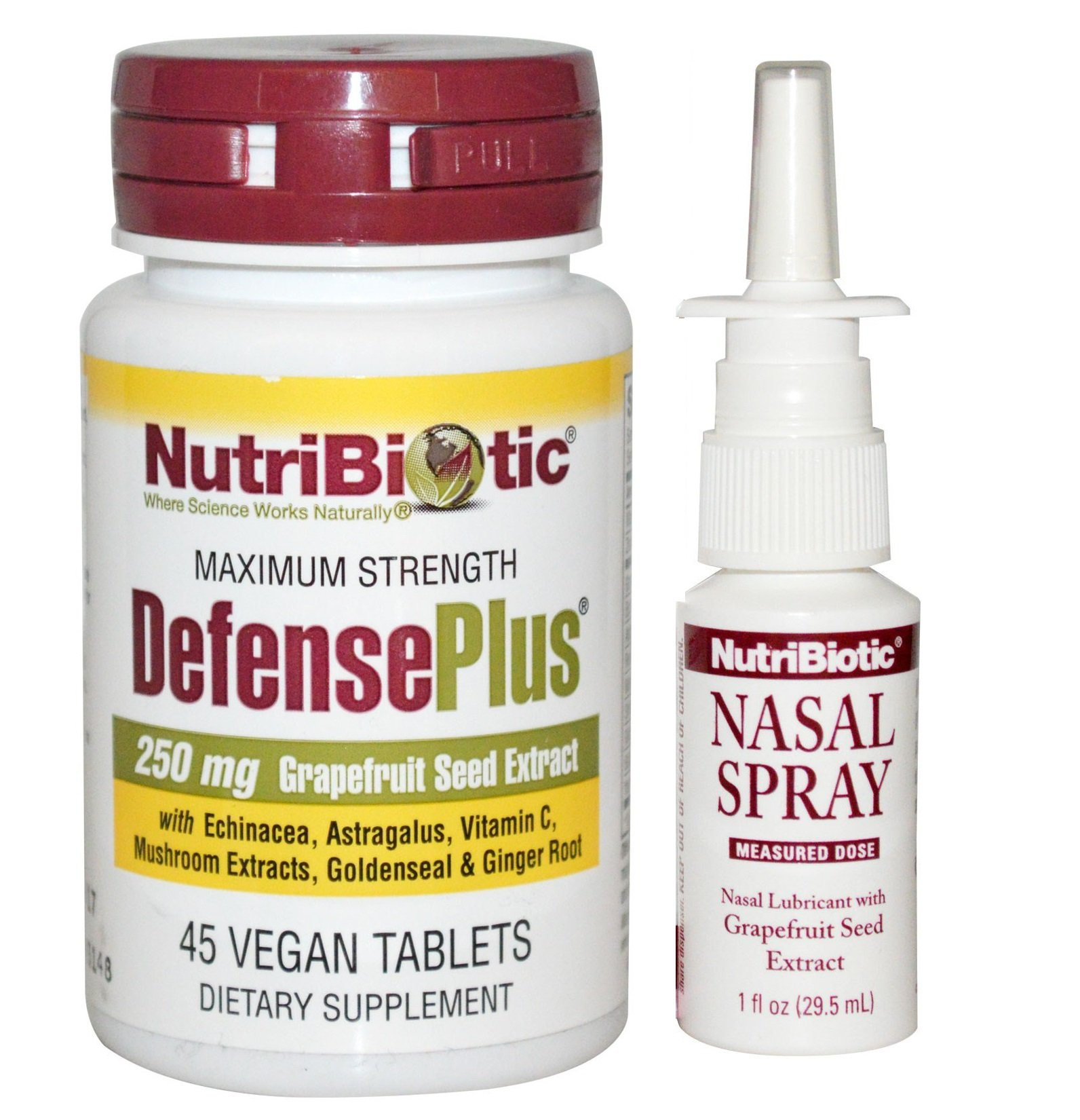 NutriBiotic Defense Plus and Nasal Spray Bundle with Ginger Root Extract, Maitake Mushroom, Grapefruit Seed Extract and Sodium Bicarbonate, 45 ct and 1 fl. oz. each