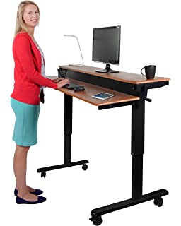 crank height adjustable sit to stand up desk with heavy duty steel frame - Adjustable Stand Up Desk