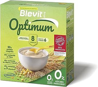 Blevit plus Optimum 8 Cereales, papilla infantil de cereales elaborada con trigo integral, avena, triticale, arroz, espelta integral, maíz, centeno y ...