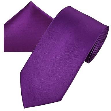 61d0d80cd090 Image Unavailable. Image not available for. Colour: Plain Bright Purple Men's  Satin Tie & Pocket Square Handkerchief Set