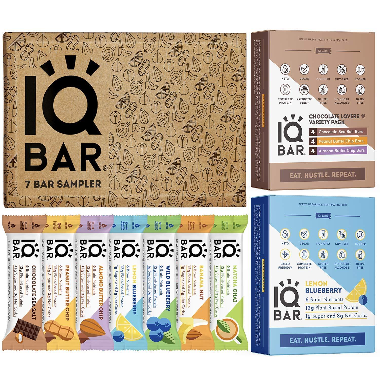 IQBAR Protein Bar Bundle (31 Protein Bars) - Gluten Free, Dairy Free, Keto Snacks - (12) Lemon Blueberry + (12) Chocolate Lovers Variety + (7) Bar Sampler - Vegan Low Carb Snacks