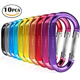 "3"" 10 Pack Vibrant Colors D Shape Improved Durable Spring-loaded Gate Aluminum Carabiners Clips Hook for Home, Rv, Camping, Fishing, Hiking, Traveling and Keychain"
