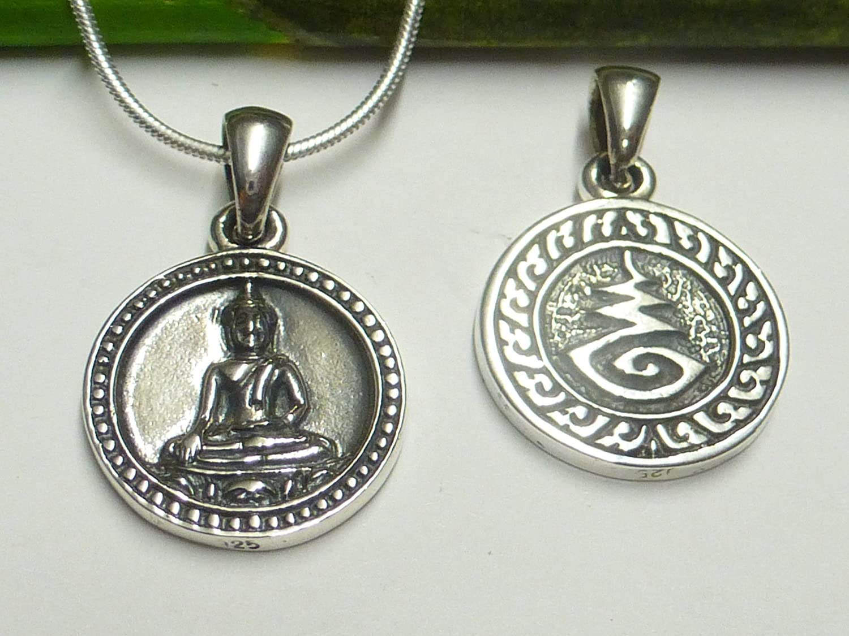 Protection et porte-bonheur Bijou unisexe Cadeau Pendentif en argent motif Bouddha En argent sterling 925