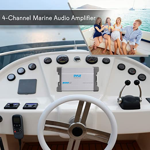 Pyle PLMRMP4A impermeabile Marine Power Amplificatore a 4 ingressi per MP3//iPod