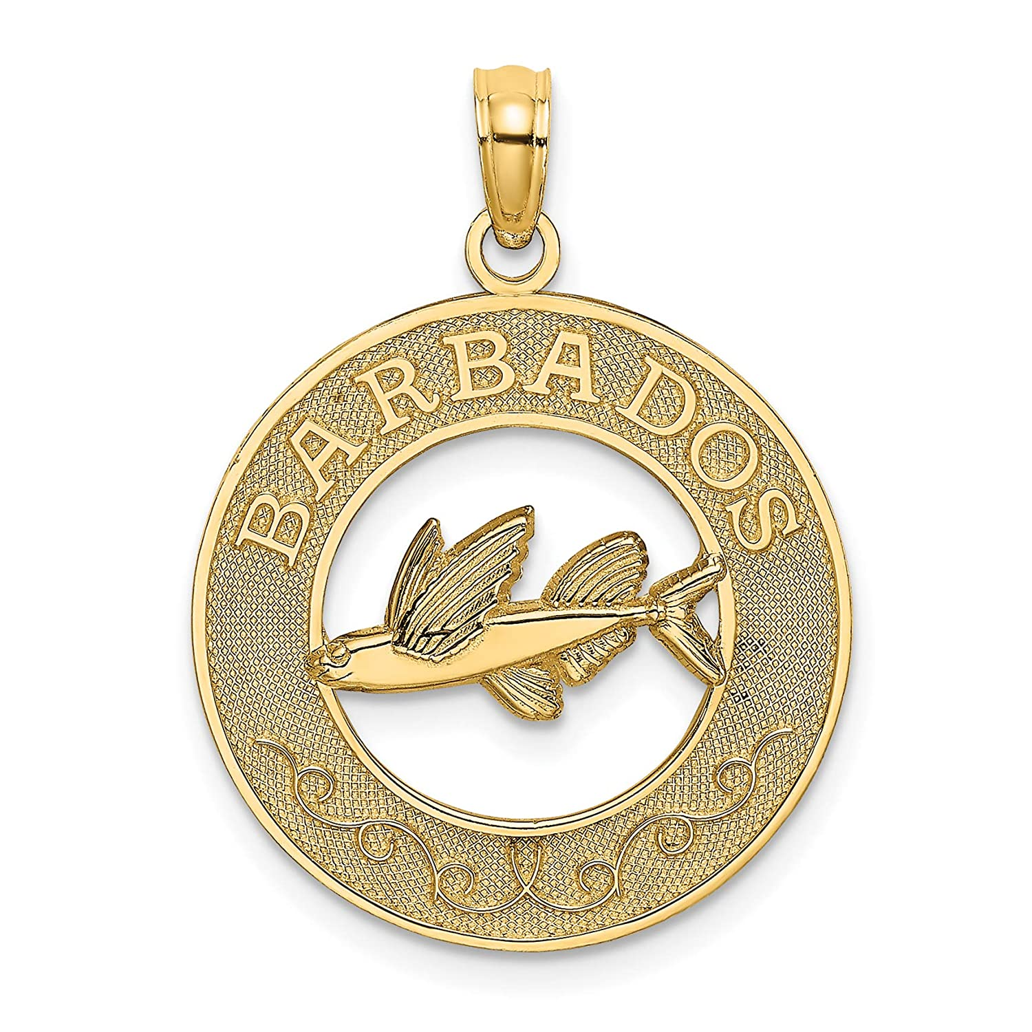 14k Yellow Gold Barbados Word with Flying Fish in Round Dime Size Pendant 18x18mm