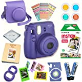 Fujifilm Instax Mini 8 (Grape) Deluxe kit bundle Includes -Instant camera with Instax mini 8 instant films (10 pack) - Custom Camera Case - instax Album - Frames - Stickers - Close up lens + MORE …