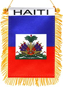 Anley 4 X 6 Inch Haiti Window Hanging Flag - Rearview Mirror & Double Sided - Fringed Haitian Mini Banner with Suction Cup