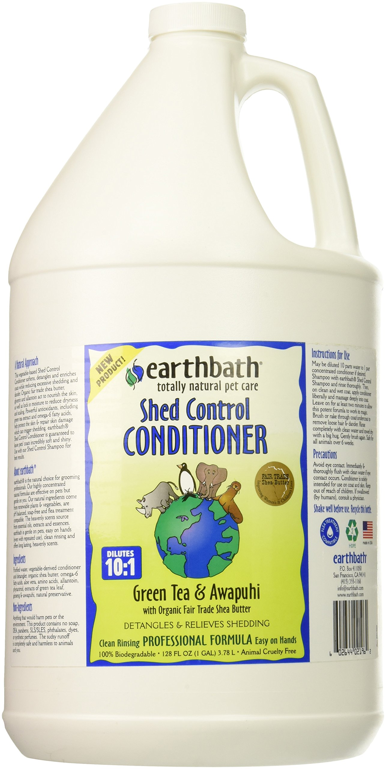 EARTH KITE Earth Bath Cat 26020 1 Gallon SHED CONTROL Conditioner Green Tea Scent with Awapuhi