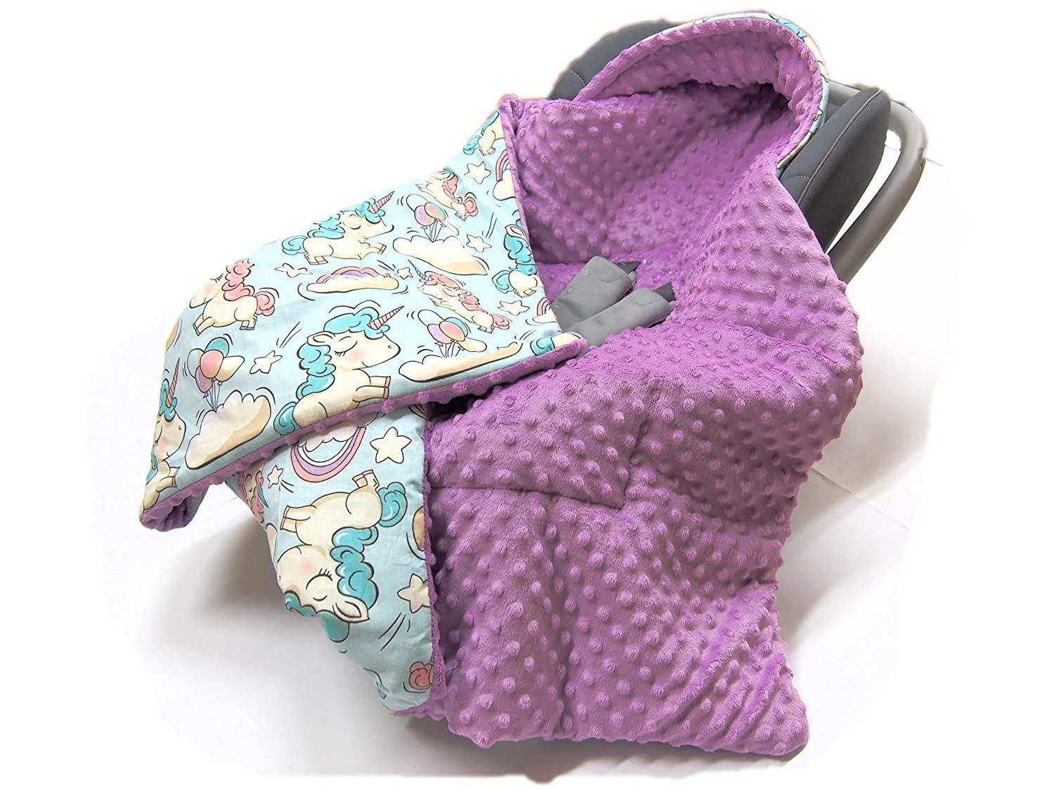 PUSHCHAIR BLANKET COVER Cars on Blue with Red Minky COSYTOES Hooded CAR SEAT PADDED BABY BLANKET Reversible Cotton//Minky