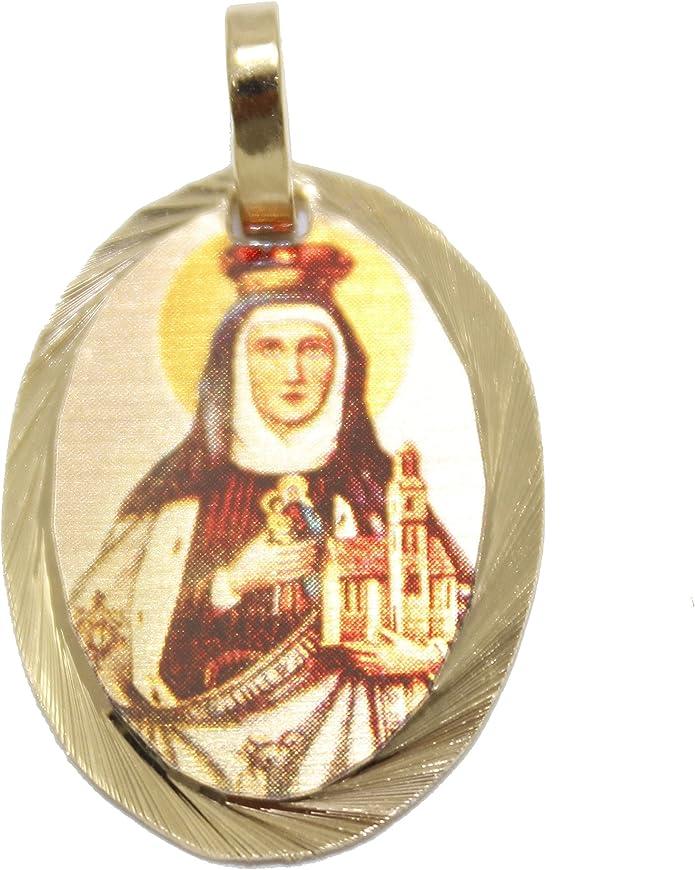 Santa Eduviges medalla – Santa eduvges medalla chapado en oro de 14 K Medalla con 18 pulgadas cadena: Amazon.es: Joyería