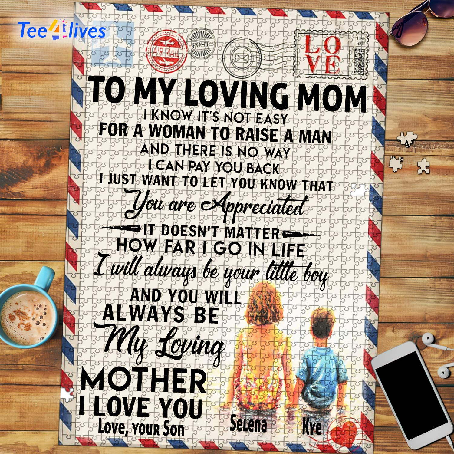 Personalized Mothers Day Gifts Custom Letter From Son To My Loving Mom Jigsaw Puzzle