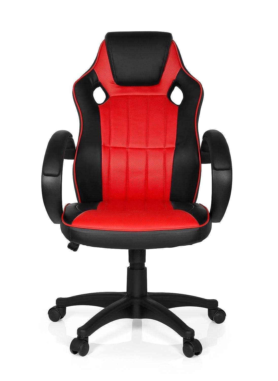 Sedia da gaming GAMING ZONE PRO 100, sedia presidenziale con braccioli, ideale per giocatori, sedile da corsa, braccioli imbottiti, racer, meccanismo oscillante, similpelle nero/rosso MyBuero 444449