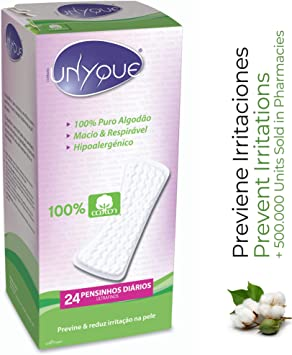 UNYQUE Protege Slips de Algodon Puro 100% – Previene y Reduce Irritaciones - Salvaslips Hipoalergénicos Suaves Ultrafinos – Apto Pieles Sensibles - 24 Unidades: Amazon.es: Salud y cuidado personal