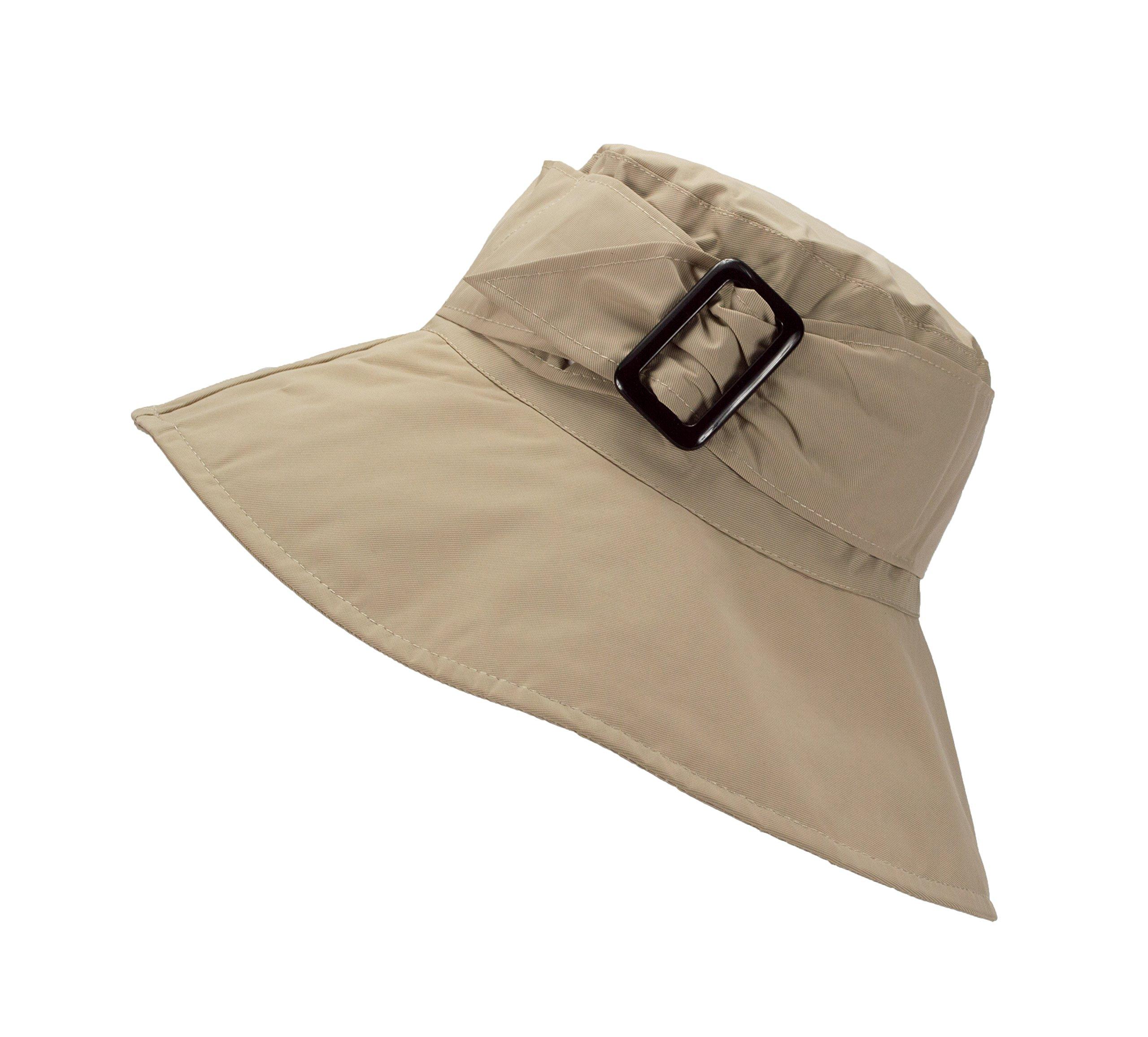 FLH Cute Bucket Rain Hat w/Buckle Accent, 3.5 inch Wide Brim, Roll-Up Packable (Khaki)