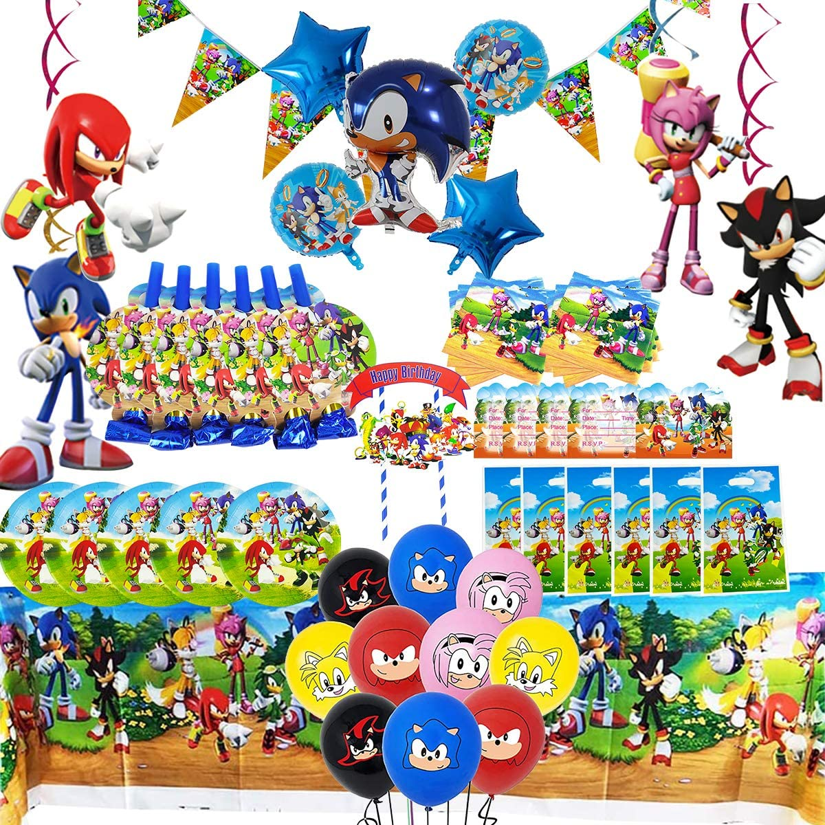 TOXYU 95Pcs Sonic Party Supplies for Boys Girls Baby Birthday Decorations Includes Table Cloth, Cake Topper, Gift Bags, Dinner plate, Invitation Card, Sonic Cake toppers and sonic Foil Balloons, Disposable Tableware Kits