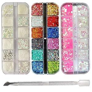 Chunky Glitter Flakes & Powder Iridescent Hexagon Star Glitters Sequins Powder Dust Holographic Fine Glitter Powder Nail Art Resin Cosmetic Decor Accessories (Fine Glitter)
