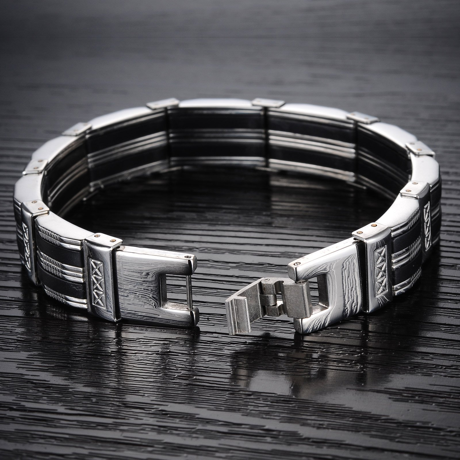 OSTAN Men's stainless steel Chain Link Bracelet by OSTAN (Image #3)