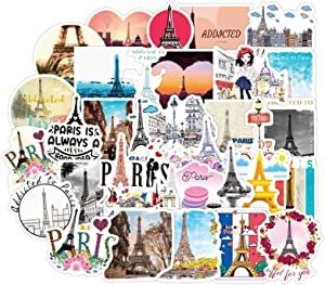 Addicted to Paris Stickers 50 Pcs Made of Durable Vinyl,Waterproof,Sunscreen,Reusable,Cute,Stylish,Suitable for Water Bottles,Laptops,Phones,Skateboards,Suitcases,Guitars,Suitable for Youth.