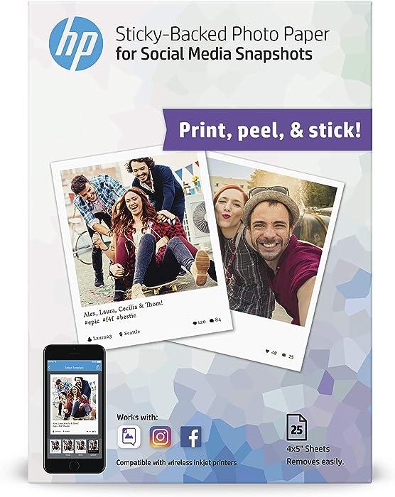 HP Photo Paper, Sticky Back Social Media Snapshots, (4x5 inch), 25 sheets