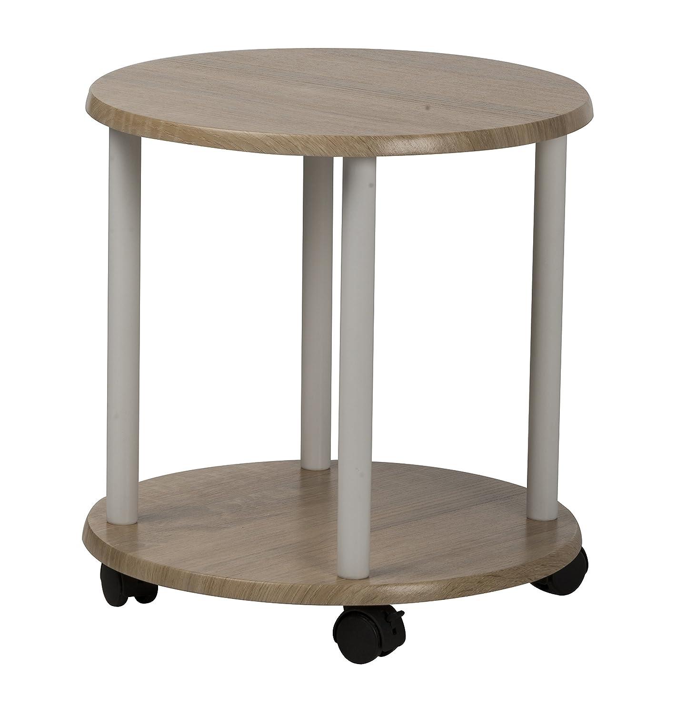 In legno 40cm da rotondo caffè supporto tavolino con mensola e 4ruote Home Style