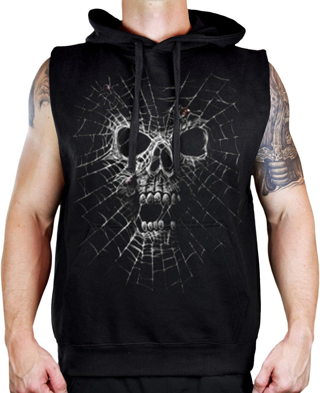 Interstate Apparel Mens Black Widow Skull Sleeveless Vest Hoodie