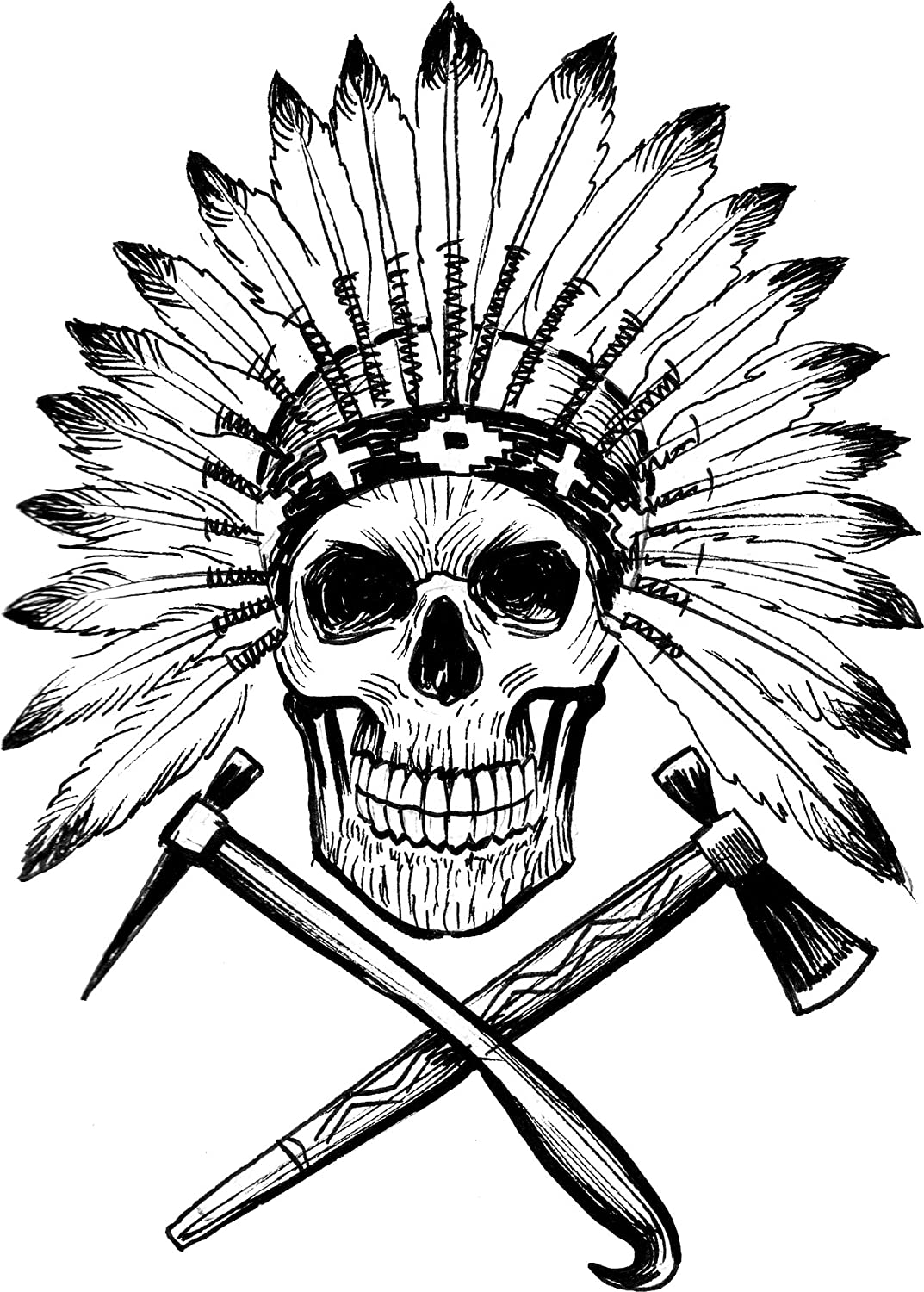 Amazon com pen sketch black and white skull with feather