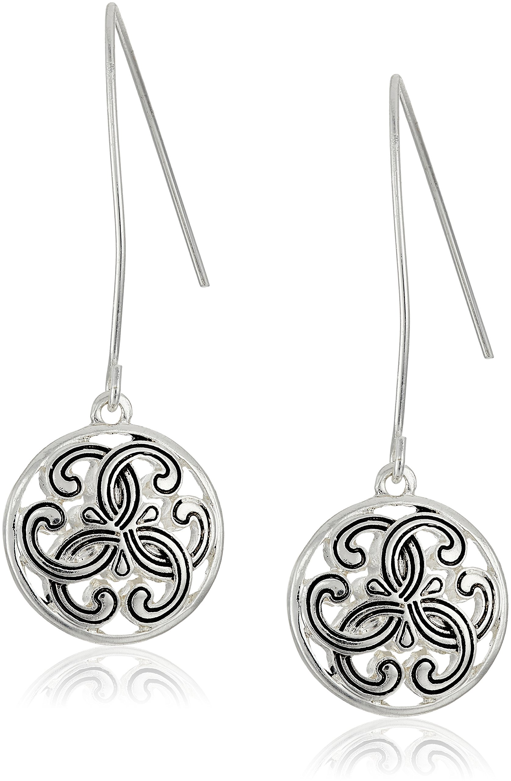 Napier Summer Breeze Silver-Tone Antiqued Lever back Drop Earrings