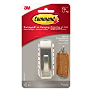 Command Modern Reflections Metal Hook, Medium, Brushed Nickel, 1-Hook (MR02-BN-ES)