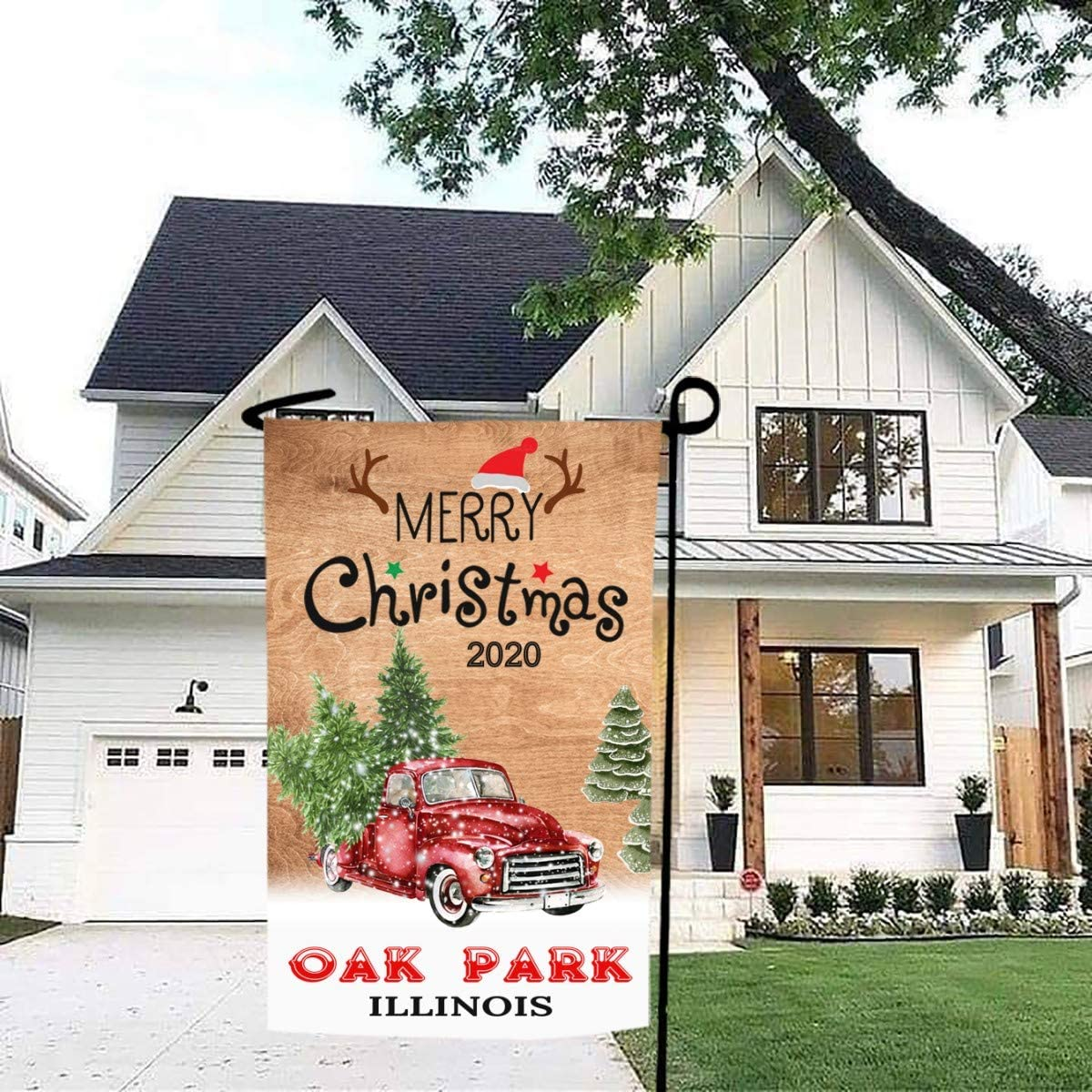 Merry Christmas Garden Flag Red Truck 2020 Oak Park Illinois State - Rustic Winter Garden Yard Decorations, Outdoor Flag 12x18 Inch Double-Sided for Home, Garden (Not Included Stand)