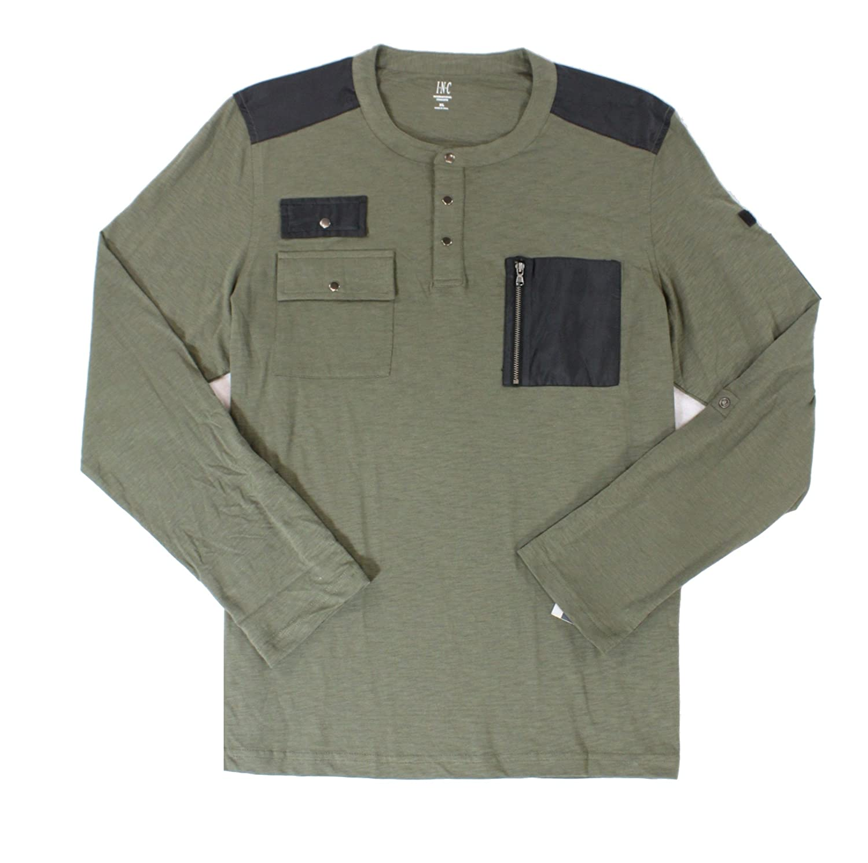 I-N-C Mens Never Alone Pocket Henley Shirt