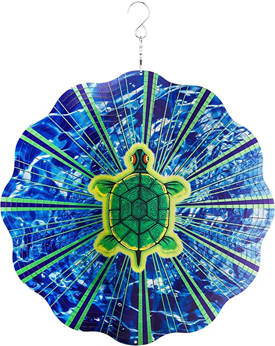 Garden Wind Spinners,3D Sea Turtle Wind Spinner Craft Yard Decor,Kinetic Spinner Outdoor Metal Large,12inch Tortoise Hanging Spinner Indoor Home Ornaments,Stainless Steel Wind Sculptures & Spinners